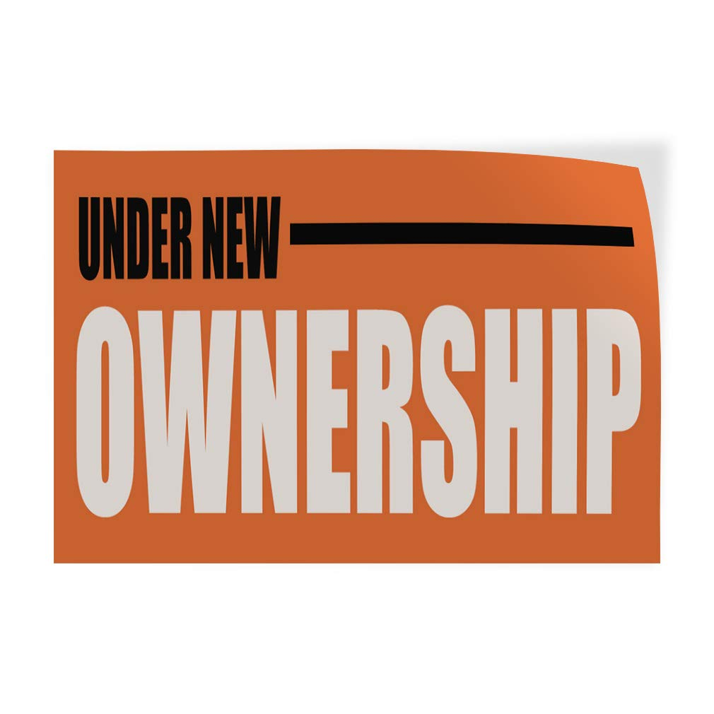 Decal Sticker Multiple Sizes Under New Ownership Business Business Under New Management Outdoor Store Sign Orange 66inx44in Set of 2