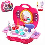 Buyger 21Pcs Pretend Play Hair Dryer Makeup Toy Set Beauty Fashion Princess Cosmetic Suitcase Gift for Girls Kids Children