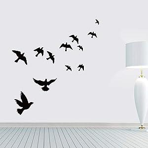 Poominer Flying Black Bird Flying High to Sky 3D Removable Vinyl DIY Wall Sticker Mural for Nursery Bedroom Living Room Home Decoration Kids Rooms Door Mural Decal Art Décor