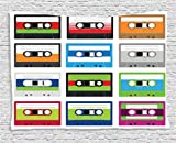Ambesonne 90s Decor Tapestry, Collection of Retro Plastic Audio Cassettes Tapes Old Technology Entertainment Theme, Wall Hanging for Bedroom Living Room Dorm, 80 W X 60 L Inches, Green and Blue