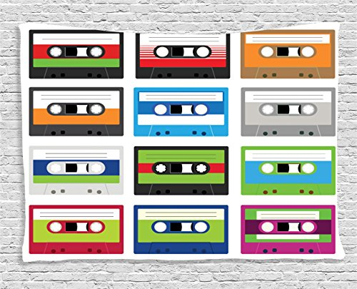 Ambesonne Collection Cassettes Technology Entertainment