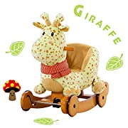 labebe Child Rocking Horse Plush, Stuffed Animal Rocker Toy, 2 in 1 Yellow Giraffe Rocker with wheel for Kid 6-36 Months, Rocking Toy/Wooden Rocking Horse/Rocker/Animal Ride/Deer Rocker for Boy&Girl