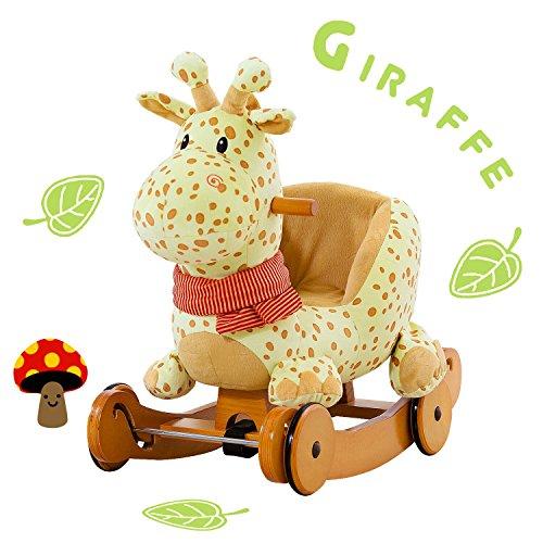 - labebe Child Rocking Horse Plush, Stuffed Animal Rocker Toy, 2 in 1 Yellow Giraffe Rocker with wheel for Kid 6-36 Months, Rocking Toy/Wooden Rocking Horse/Rocker/Animal Ride/Deer Rocker for Boy&Girl