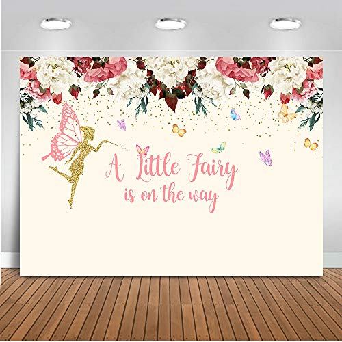 Mocsicka Baby Shower Backdrop 7x5ft A Little Fairy is on The Way Girl Baby Shower Photo Studio Backdrops Girl's Birthday Newborn Baby Floral Photography Background