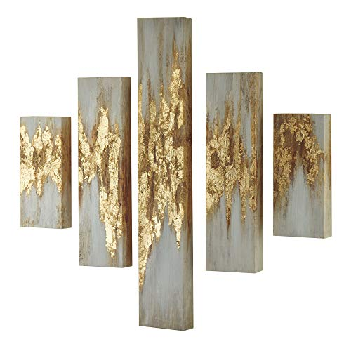 Signature Design by Ashley A8000149 Devlan Set of 5 Wall Art, Gold Finish/White ()