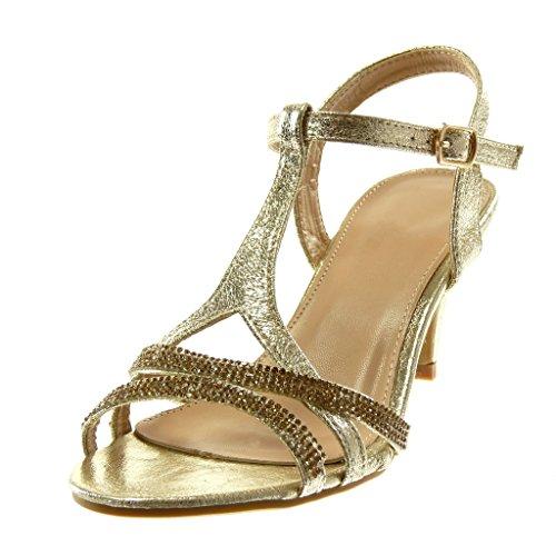 Brillantes Strass Sandalias Tacón Cm Alto Elegante Moda Tanga Mujer De Zapatillas Escarpín Embudo Oro Tobillo 8 Correa Angkorly Metalizado Et7TwPnqx
