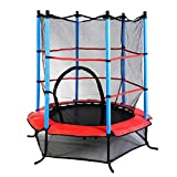 "Giantex 55"" Round Kids Mini Jumping Trampoline W/ Safety Pad Enclosure Combo (Multicolor)"