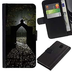 Billetera de Cuero Caso del tirón Titular de la tarjeta Carcasa Funda del zurriago para Samsung Galaxy Note 3 III N9000 N9002 N9005 / Business Style Gate Light Halloween Dark