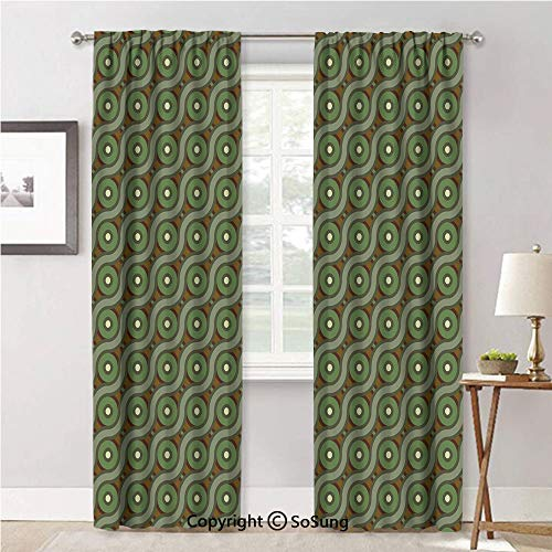Window Curtains for Bedroom Privacy,Abstract Crisscrossing Wavy Linked Lines Circles Round Pixel Reseda and Fern Green Amber,Soft Sheer Curtains for Kitchen,42x84inch Each,2 Panels