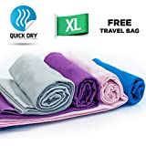Quick Dry Towel - Lightweight - Highly Absorbent - Compact - Travel - Soft Microfiber - 100% Moneyback Guarantee - Large - Best For Yoga Pilates Bikram Beach Sports Gym And Swimming - Includes *FREE* Storage Bag *FREE* Weight Loss E-Book