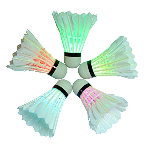 BLUBOON Badminton Set LED Shuttlecock Feather Super Bouncy Light Badminton Birdies Sport(Color, 5 Pcs)
