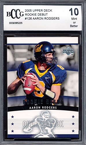 2005 Upper Deck Debut #126 Aaron Rodgers Rookie Card Graded BCCG - Debut Card Rookie 2005