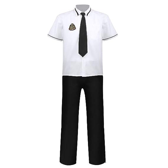 iixpin Unifome Escolar para Hombre Niños Disfraz Estudiante 4Pcs ...