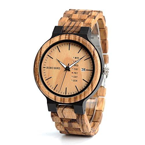 Men's Wooden Watch, Analog Quartz Zebra Sandalwood Handmade Vintage Casual Bamboo Wrist Watch