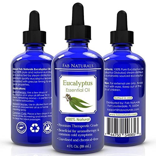 Eucalyptus Essential Oil 4oz - Premium Therapeutic Grade, for Diffuser, Humidifier, Sauna, Steam room, Shower, 100% Pure - by Fab Naturals by Fab Naturals (Image #1)