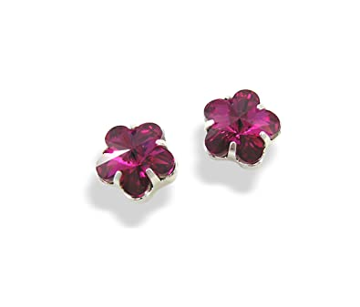 Pink Swarovski Earrings - Fuchsia Crystal Flower Stud Earrings - Crystal  Earrings - Silver Plated Pierced  LJ Designs and Oaks Jewellery   Amazon.co.uk  ... 58a84a7ca