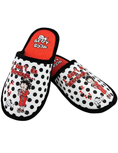 MID SOUTH PRODUCTS Betty Boop I Don't Do Mornings Polka Dotted Velvet Scuff Slippers (One Size) -