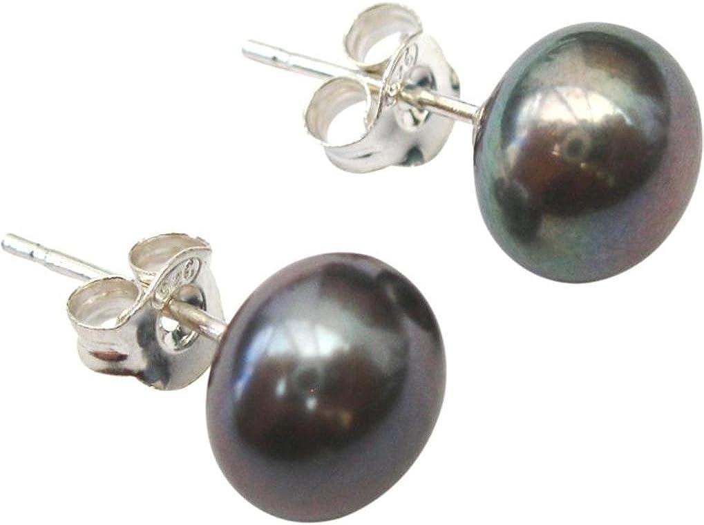 Pendientes de perla cultivada de agua dulce negra/pavo real de, de pin y mariposa de plata (925).