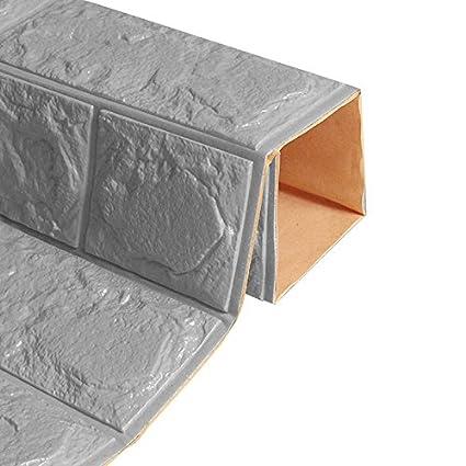 WINOMO 60 x 60cm 3D Ziegel Wandaufkleber Kleber Wandplatte Ziegel Tapete für Schlafzimmer Wohnzimmer Küche Dekor (dunkelgrau)