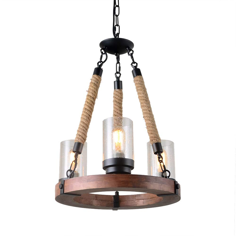 Giluta Wooden Ring Hemp Rope Chandelier with Seeded Glass Shade Retro Style Pendant Lamp Industrial Ceiling Lamp Vintage Hanging Light Fixtures 3 Lights, Brown (C0047)