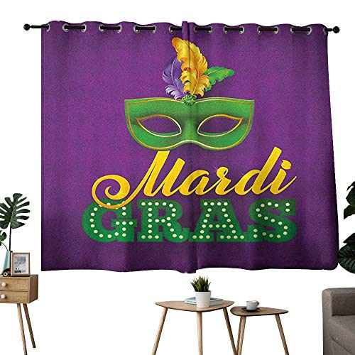 bybyhome Mardi Gras Grommet Soft Darkening Curtains Green Mask with Colorful Feathers on Purple Backdrop Styled Calligraphy Curtain for Living Room Purple Green Yellow W96 x L72