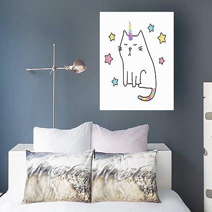 Amazon.com: Canvas Print Wall Art Cat Unicorn Cute Hipster Galaxy ...