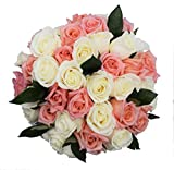 50 Farm Fresh White and Pink Roses Bouquet By JustFreshRoses | Long Stem Fresh White and Pink Rose Delivery | Farm Fresh Flowers
