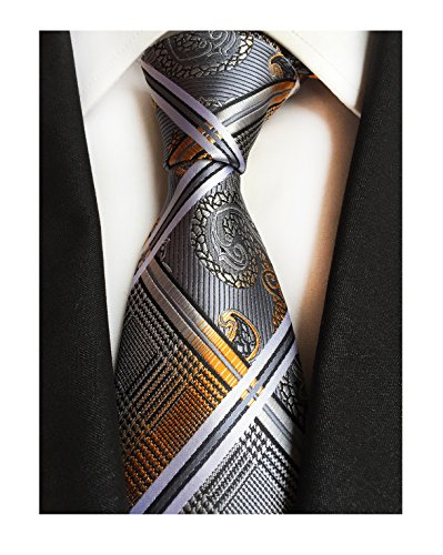 (Men's Grey Gold Orange Ties Silk Luxury Unique Designer Cool Self Dress Neckties)