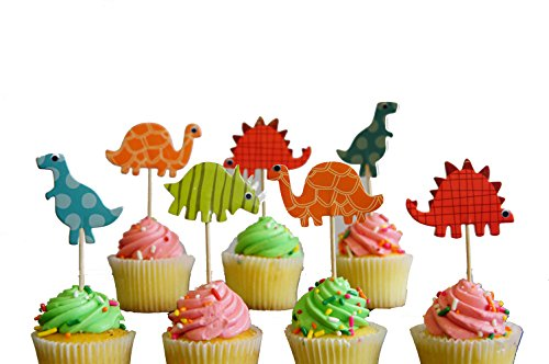 24 Dinosaur Cupcake Toppers Dinosaur food picks Dinosaur themed party (Dinosaur Party Food)