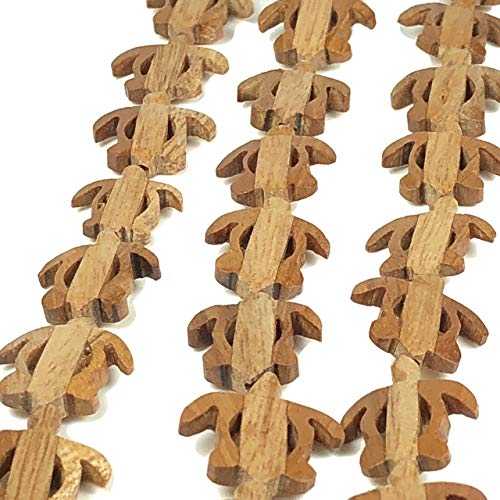 [ABCgems] Extremely Rare Coconut Palmwood 16X20mm Hand-Carved Sea Turtle Beads for Beading & Jewelry Making
