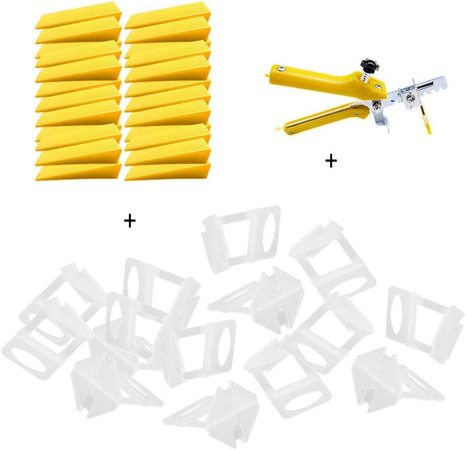 Gelb Globaldream Fliesen Nivelliersystem DIY Fliesen Nivellier Abstandshalter 1 MM 100 St/ück Nivellier Abstandshalter Clips plus 100 St/ück wiederverwendbare Keile und 1 Fliesen-Zange