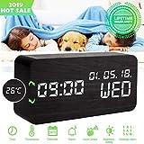Luckymore Alarm Clock,Wood Alarm Clock Digital Clock LED Small Desk Clock Voice Comm