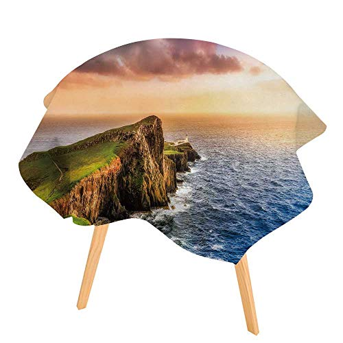 PINAFORE Easy-Care Cloth Tablecloth Colorful Ocean Coast Panoramic Sun at Neist Point Lighthouse Scotland Great for Buffet Table, Parties, Holiday Dinner 63