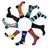 Boys Mens Colorful Patterned Dress Socks Fashion Cute Cartoon Cotton Funky Crew Socks (Cartoon)