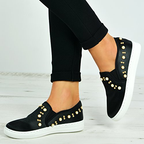 Sneakers Pearl Casual Fashion On Ginnastica New Taglie 3 Uk 8 Cucu Slip Nero Scarpe Shoes Womens Da Flat fIUqHUwP