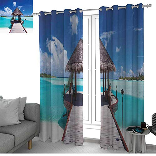 (NUOMANAN Decorative Curtains for Living Room Ocean,Jetty and The Ocean View on Tropical Caribbean Island Beach Resort Image,Turquoise Blue Redwood,Blackout Draperies for Bedroom 52