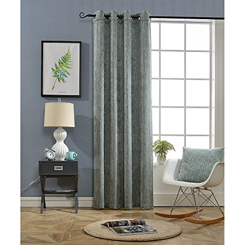 BOKO Chenille Grommet Window Panel Curtains, 54 X 96 inches, Curtains for Bedroom, Curtains for Livingroom, Comes with a Pillow Cover in the Same Fabric (Fabric Curtain Chenille)