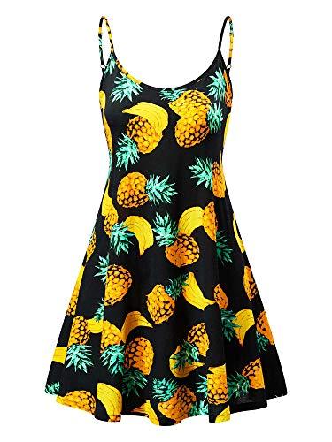 MSBASIC Baby Doll Dress Color Dresses for Women Pineapple&Banana XL