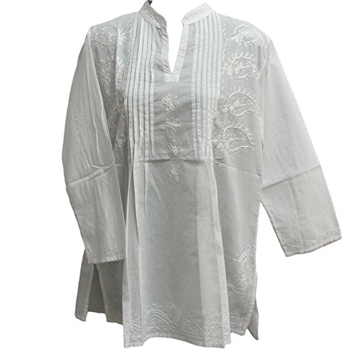 Krishna Dance Costume (Missy Plus Indian Bohemian Paisley Embroidered Cotton Peasant Tunic Blouse Top (3X, White))