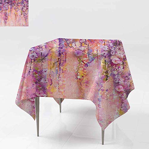 DUCKIL Oil-Proof and Leak-Proof Tablecloth Watercolor Painting Effect Wisteria Tree Blossoms Soft Scenic Spring Display Easy to Clean W36 xL36 Pink Violet Purple