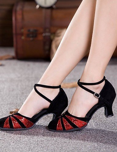 ShangYi Non Customizable Women's Dance Shoes Modern Suede/Paillette Cuban Heel Outdoor More Colors black and gold