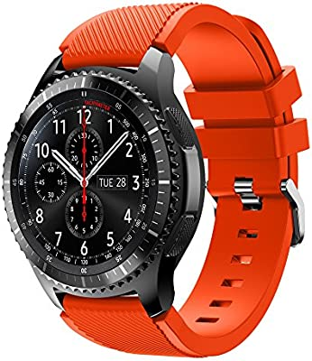 XIHAMA Band for Samsung Gear S3 Frontier/Classic, Universal 22mm Quick Release Wristband Silicone Replacement Strap (orange)