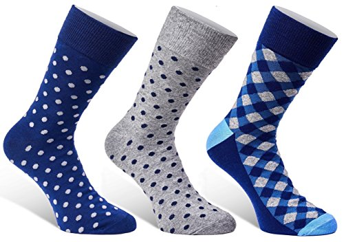 Colorful Mens Dress Socks - 3 Pack Set - Fun Patterns Polka Dot Gift Boxed - Size 7 - 12 from Puentes Denver
