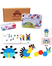 Wooden Blocks for Toddlers, Womdee Wooden Pattern Blocks Animals Jigsaw Puzzle Sorting and Stacking Games Toys Montessori Educational Toys for Kids Gift, 36 Wooden Puzzles, 60 Image Cards & 2 Boxes