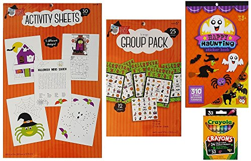 Halloween Coloring and Game Activity Kit with Coloring Sheets, Stickers, Bingo Set and Crayons - 4 Piece Set for Kids, Family and (Halloween Connect The Dot Pages)