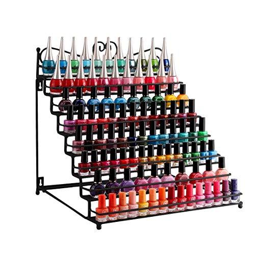 Dazone Mounted 8 Tier Metal Shelf Nail Polish Wall Rack Essential Oils Perfume Table Top Organizer Display Stand
