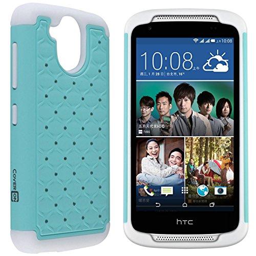 Desire 526 Case, CoverON [Aurora Series] Cute Rhinestone Bling Studded Hybrid Diamond Cover Skin Phone Case for HTC Desire 526 - Light Blue/White