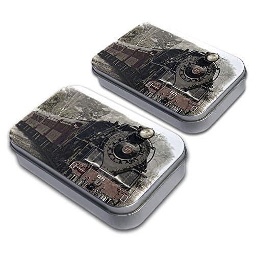 Steam Locomotive Train Railway Railroad Decorative Craft Trinket Metal Tin Box Set of 2