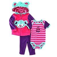 Nuby Baby 3 pc Outfit Fleece Hoodie Top Pants Set (12M, Pink Koala)