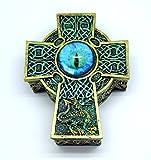 Green Celtic Cross Dragons Eye Jewelry Trinket Keepsake Box Fantasy Decoration